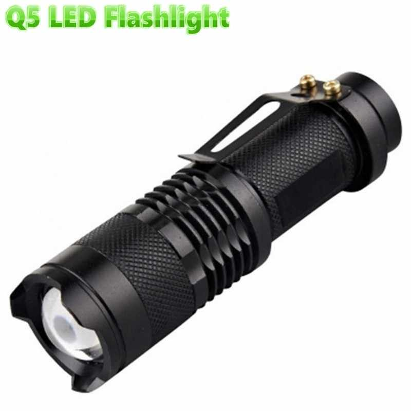 Tahan Air Q5 Senter LED Daya Tinggi 2000LM Mini Spot Lampu Portable 3 Model Zoomable Peralatan Berkemah Torch LED Mini Lampu