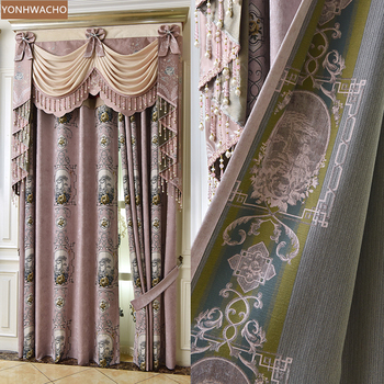 Custom curtain European jacquard chenille simple living room bedroom pink thick cloth blackout curtain valance tulle panel C156