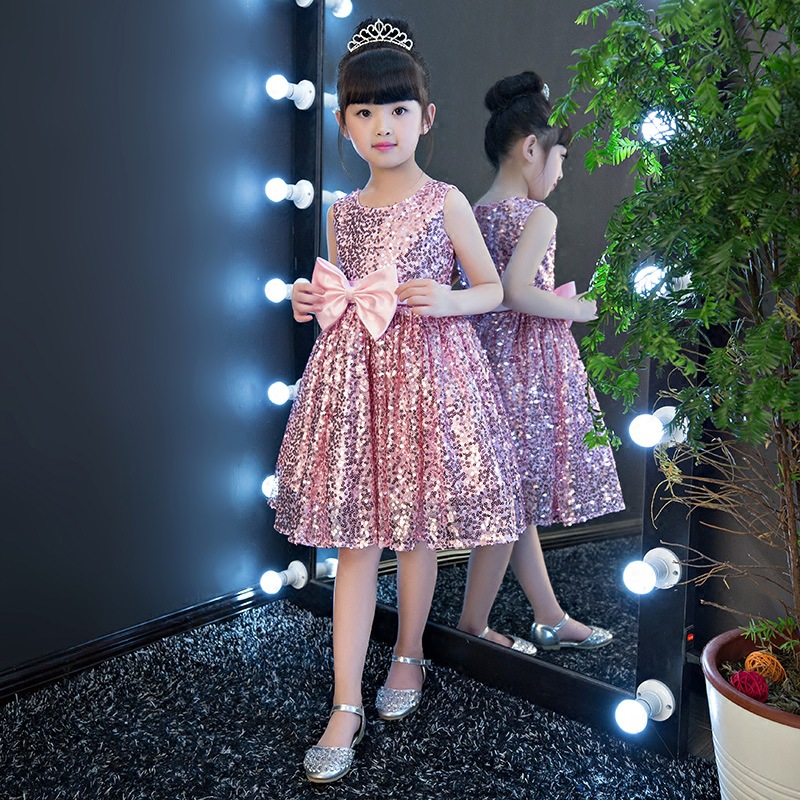 Birthday Girls Princess Dress Dresses Of Bride Fellow Kids Tutu Host Dance Piano Costume Summer Silver Paillette