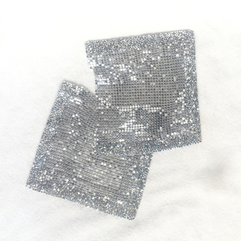 50pcs pack metal patches Iron on sew on pocket with resin rhinestones DIY your clothes jeans T - shirt jacket fashion summer