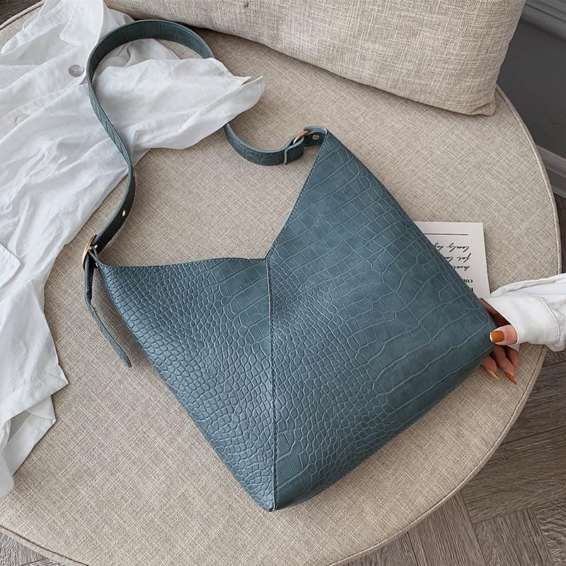 High Capacity Crocodile Pattern PU Leather Shoulder Bags For Women 2020 Composite Crossbody Messenger Bag Lady Handbags Shoulder Bags     - title=