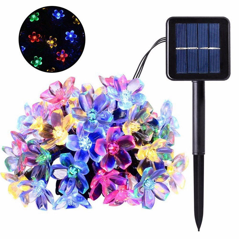 TOP 7 Meters 50 Led Solar Power Fairy String Lights Blossom Flower Lamp Waterproof Outdoor Party Wedding Christmas Multi Color