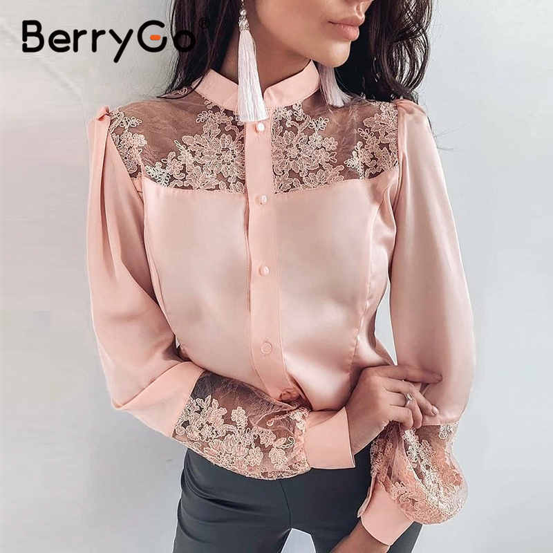 BerryGo Plus Size Lace Satin Blouse Shirt Women Embroidery Long Sleeve Female Tops Shirts 2020 Spring Summer Office Ladies Tops