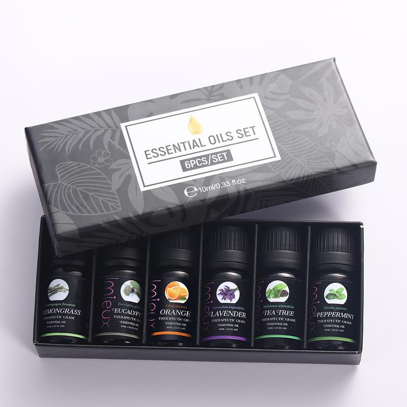IMIEUX 10ml 6pcs/kit Gift Set Pure Essential Oils for Aroma Diffusers Orange Lavender Tea Tree Peppermint Eucalyptus Lemongrass