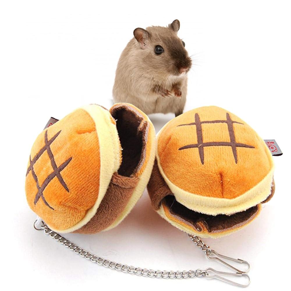 Small Animals Bed Mini Hamburger Bread Shape Pet Cage Bed Rat Hammock Warm Cotton Hamster Nest House Hut Portable Hang Nest