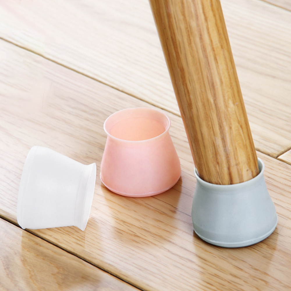 4pcs/set Silicone Chair Leg Caps Non-slip Round Pipe Tube Gloves Mat Table Desk Chair Foot Protection Pad Furniture Accessories
