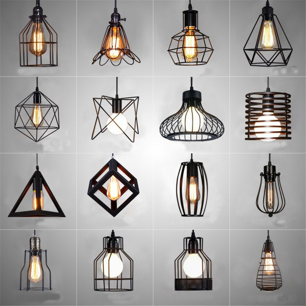Nordic LED Pendant Lights Retro Industrial Style Coffee Restaurant Personality Bar Iron Cage Art Hanging Line Lamp Decoration