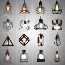 Nordic LED Pendant Lights Retro Industrial Style Coffee Restaurant Personality Bar Iron Cage Art Hanging Line Lamp Decoration(China)