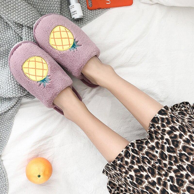 SWQZVT Indoor furry slippers women 2020 fruit print bedroom fur slides women shoes non-slip flat soft house floor female slipper (43)