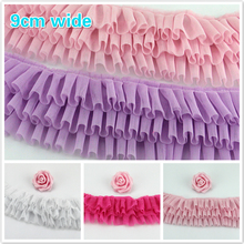 NEW Color Three-layer Mesh Pleated Tulle Lace Fabric DIY Dress Hem Stitching Pillow Curtain Edge Decoration Pet Clothes Creation