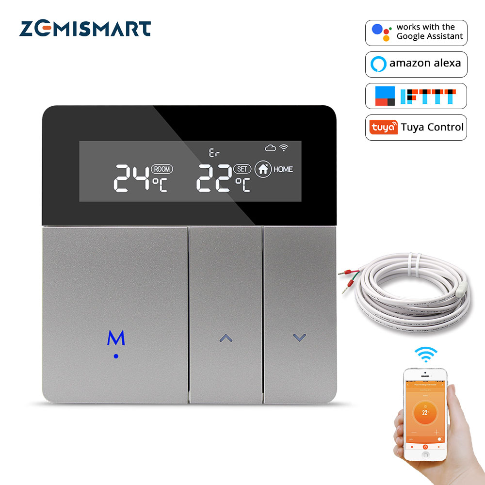 Zemismart Tuya Wifi Thermostat For Electric Heater Water Radiant Floor Heating Alexa Google Home Enable Temperature Controlled