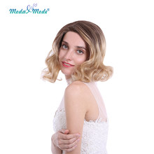 "Moda & Mode Hair 14"" Short Wavy Wigs for Black Women African American Synthetic Lace Front Wigs Ombre Blonde Wig Cosplay(China)"