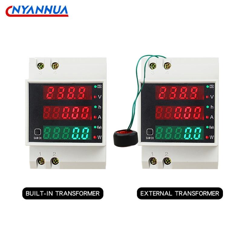 D52-2047 din-рейка мульти-Функция цифровой измеритель переменного тока Мощность ток Напряжение Мощность фактор светодиодный CT100A