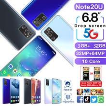 Mais recente smartphone rugum nota 20u 6.8 Polegada tela hd telefones inteligentes android 10.0 3gb ram 32gb rom desbloqueado duplo sim telefones celulares