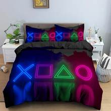 Playstation Game Elements 2/3pcs Duvet Cover with Pillowcases Bedroom Decor