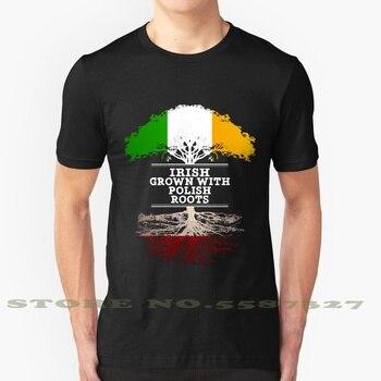Irlandés crecido con raíces polacas-regalo para polaco con raíces de Polonia gráfico personalizado divertida camiseta de gran oferta polaco irlandés