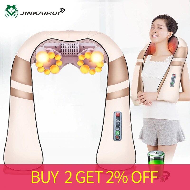 Cordless Rechargeable JinKaiRui Pescoço Para Trás Massageador Shiatsu 3D Amassamento Profundo Portátil de Corpo Inteiro Massagem com Calor Aliviar A Dor