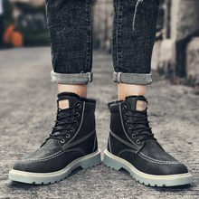 Men's High Top Boots Autumn Casual Booties Fashion Motorcycle Boots Retro Round Boots Ankle Dr Martin Booties 2020DGH3(China)