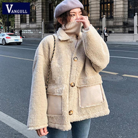 Vangull Women Lamb Fur Jackets Winter Thick Warm Women Lamb Fur Coat Autumn Fashion New Long Sleeve Solid Loose Elegant Outwear