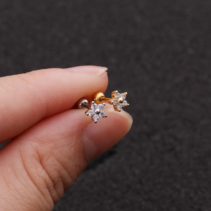 1piece Gold Color Crown Star Flower CZ Tragus Cartilage Stainless Steel Ear Stud Piercing Crystal Daith Earring