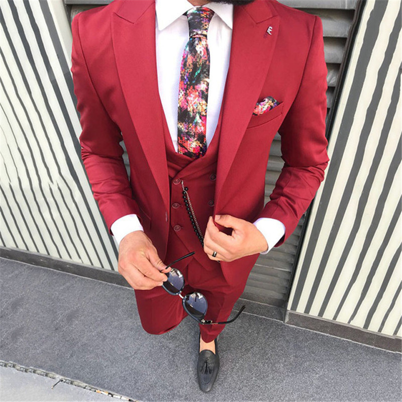 Fashion Red Men Suits Smart Casual Business Peaked Lapel Slim Fit Street Wear Party Prom Blazer 3 Pieces Wedding Suits For Men