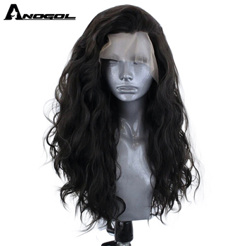 ANOGOL High Temperature Fiber Natural Black Long Body Wave Hair Wigs Synthetic Lace Front Wig For Women Free Part 180% density heat resistant fiber syntehtilace lace front wig body wave black hair synthetic wigs for black women free shipping