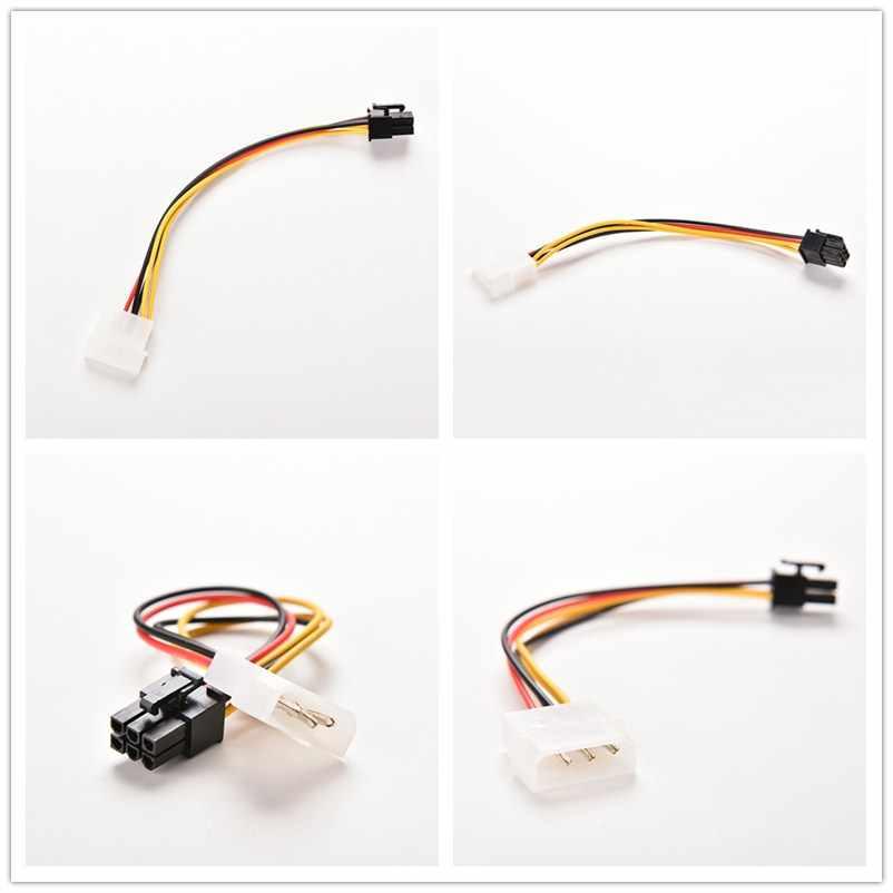 4 pinos molex ide para 6 pinos pci-e placa gráfica fonte de alimentação cabo adaptador de placa de vídeo para pc conector cabo conversor de cabo 17cm