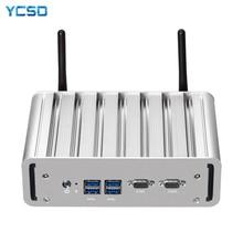YCSD Quạt Không Cánh Mini PC Intel Core I7 5500U Windows 10 Linux 2 * Gigabit Ethernet 2 * RS232 DB9 4 * USB 300Mbps Nettop NUC