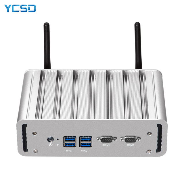YCSD Quạt Không Cánh Mini PC Intel Core I7 5500U Windows 10 Linux 2 * Gigabit Ethernet 2 * RS232 DB9 4 * USB 300Mbps Nettop NUC