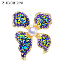 ZHBORUINI High Quality Natural Freshwater Pearl Brooch Pearl Flower Brooch Purple Color Pearl Jewelry For Women Gift Accessories new free shipping flower jewelry natural 4 10mm black freshwater pearl embellished sunflower floral pin brooch top quality