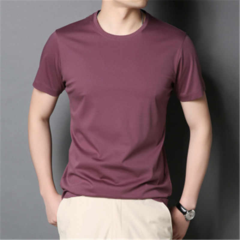 2019 new men's solid color cotton Slim short-sleeved t-shirt bottoming shirt wild men's shirt  aay52