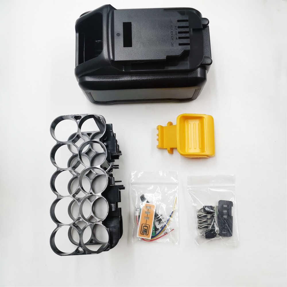 Dcb200 10*21700 bateria li-ion caixa de plástico pcb proteção de carregamento escudo da placa de circuito para de walt 18 v 20 v 8ah