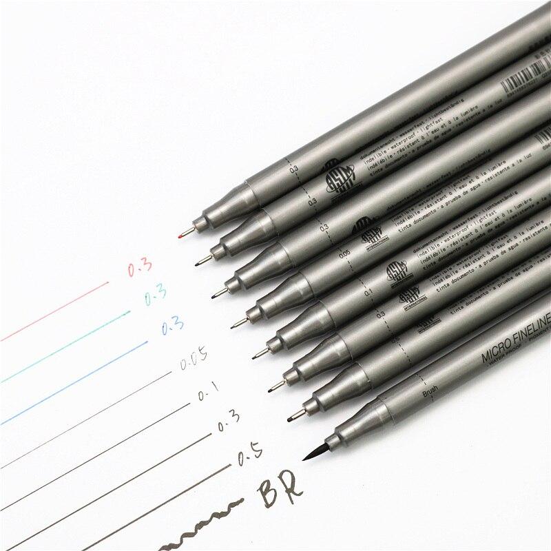 1set Pigment Liner Multifunction Drawing  Marker Pen 0.05 0.1 0.2 0.3 0.5 Brush Different Tip Black Fineliner Sketching Pens