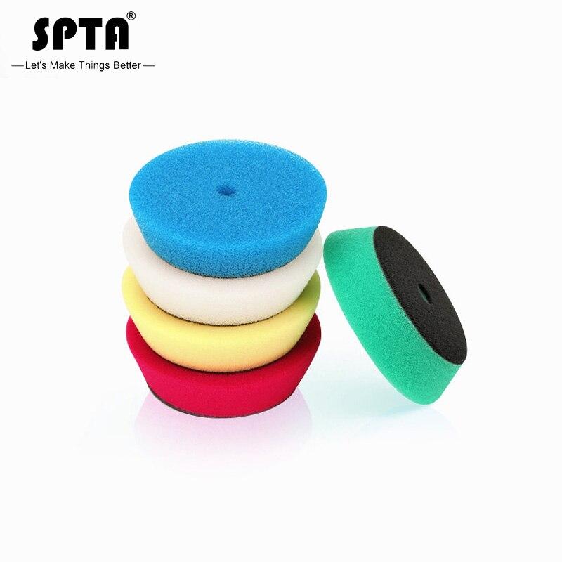Spta t-forma esponja almofada de polimento para 3 Polegada polidor de carro cor misturada 100mm almofadas de polir enceramento esponja ro/da disco polidor
