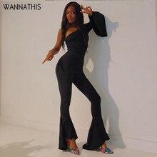 WannaThis Autumn Sexy Women Flare Jumpsuit Romper One Shoulder Long Sleeve Elegant Black Fashion Office Lady Bodycon