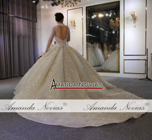 Image 3 - Suknia ślubna 2020 wysoki dekolt z całe z koralików zamówienie na zamówienie dubaj wesela