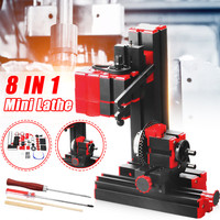 Multifunções mini torno máquina torno torno torno diy ferramentas 8 em 1 transformador motorizado carpintaria perfurador de plástico metal madeira torno