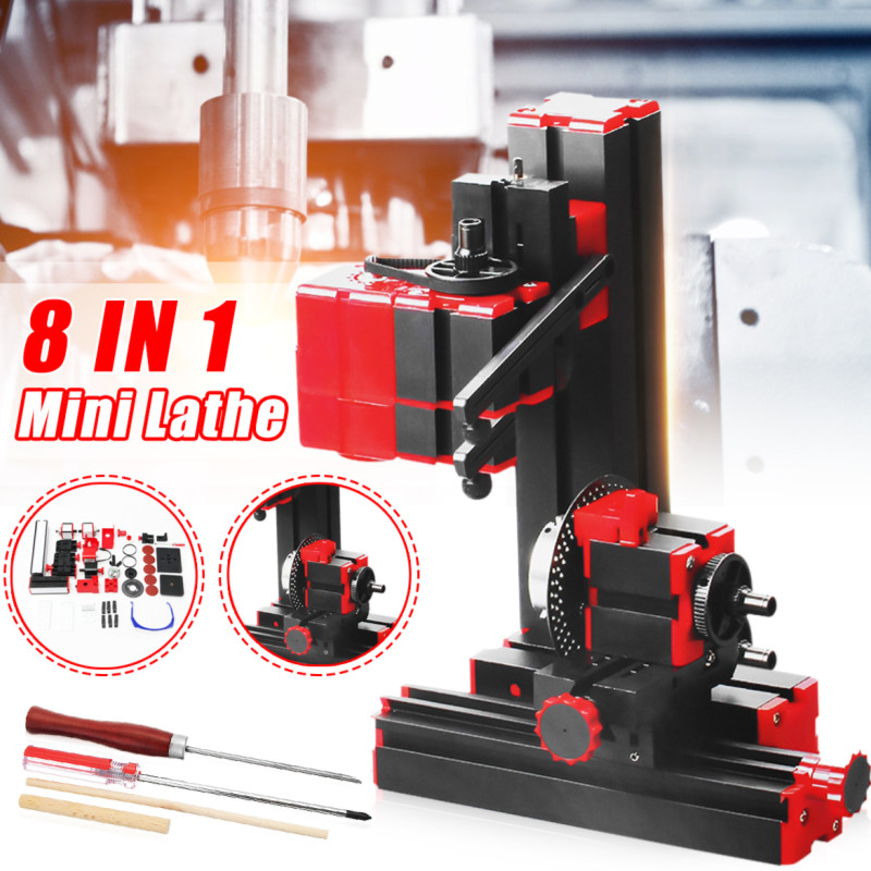 Multifunction Mini Lathe Machine Torno Lathe DIY Tools 8 In 1 Motorized Transformer Woodworking Driller Plastic Metal Wood Lathe