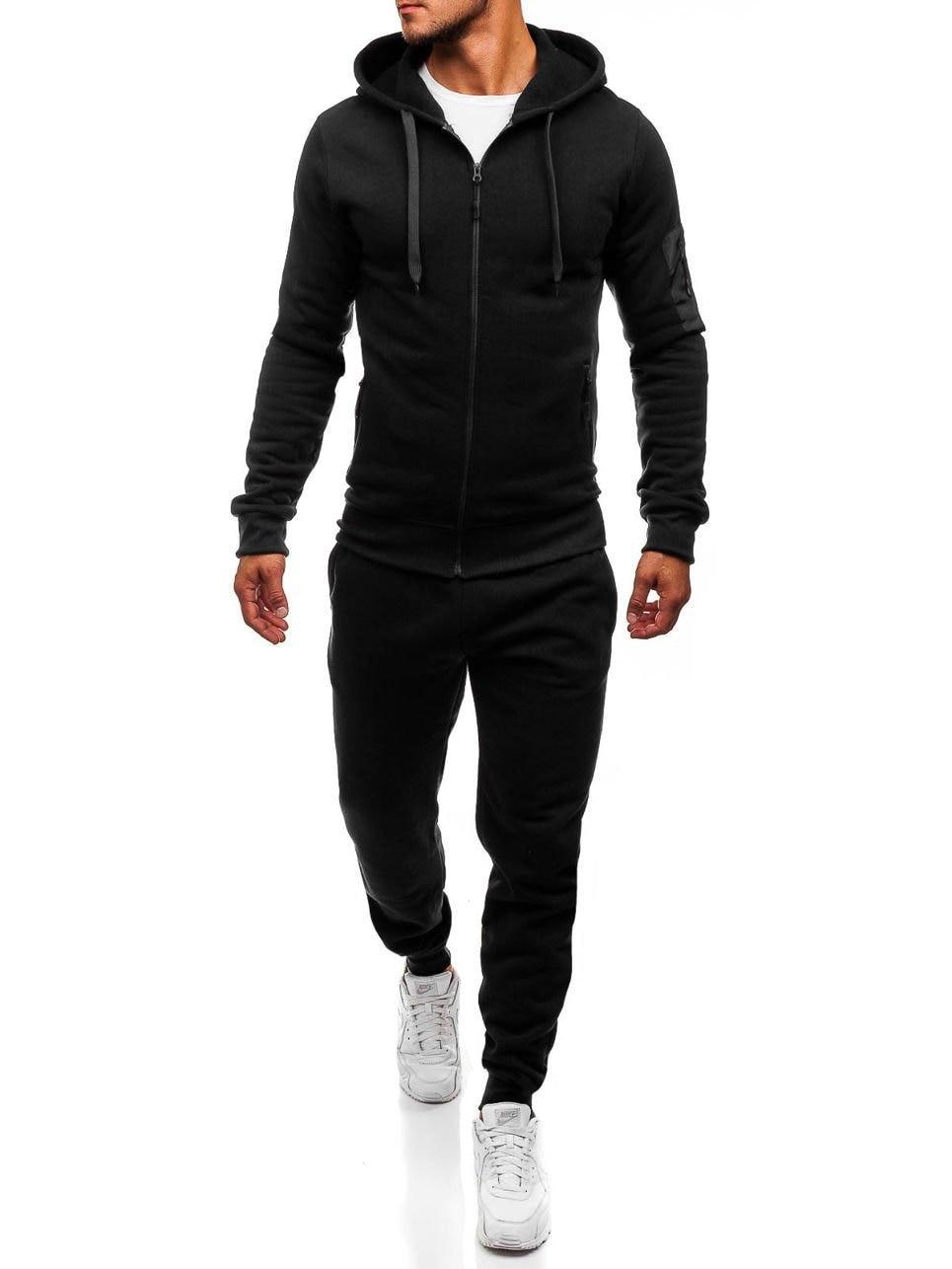 2019 Men Casual Hooded Sports Hoodie Set