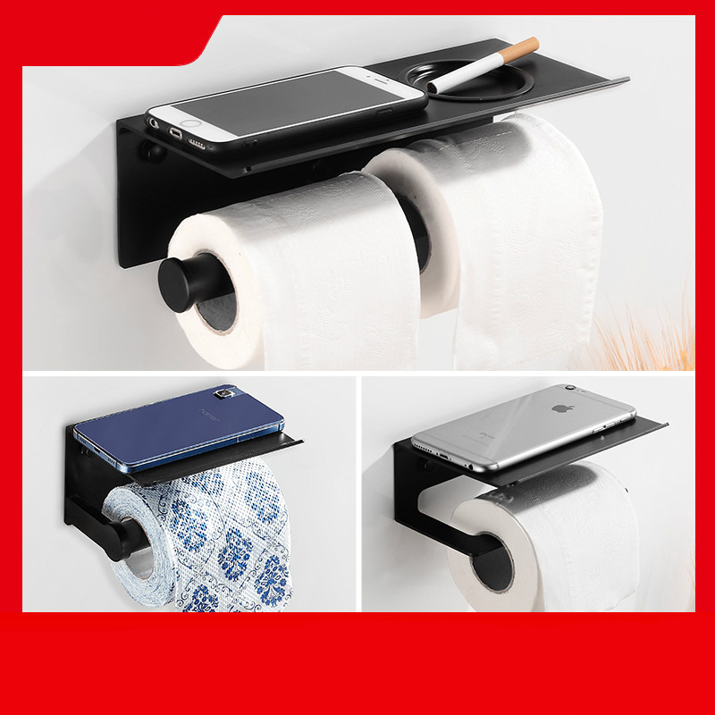 Toilet Paper Holder With Shelf Black Wall Mounted Mobile Phone