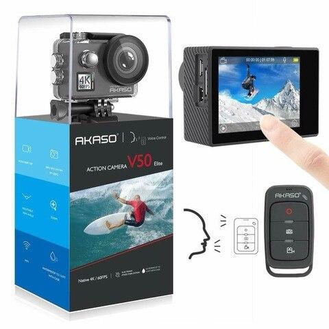 Sensível ao Toque Câmera de Ação Controle de Voz Câmera de Esportes à Prova Água com Capacete Akaso Elite – 60fps Tela Wifi Eis 40m Dwaterproof V50 4 k