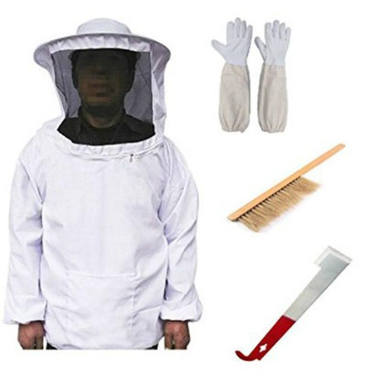 Anti-Bee Coat Anti-Bee Clothing Hat J-Type Hive Tool Brush Bristle Bee Sweeper Sheepskin Gloves Beekeeping Tools bees