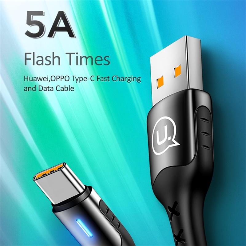 USAMS usb type c cable 5A quick charger for huawei P20 lite mate 20 mate 30 pro fast charging data Android 0.5m 1m 2m led lights