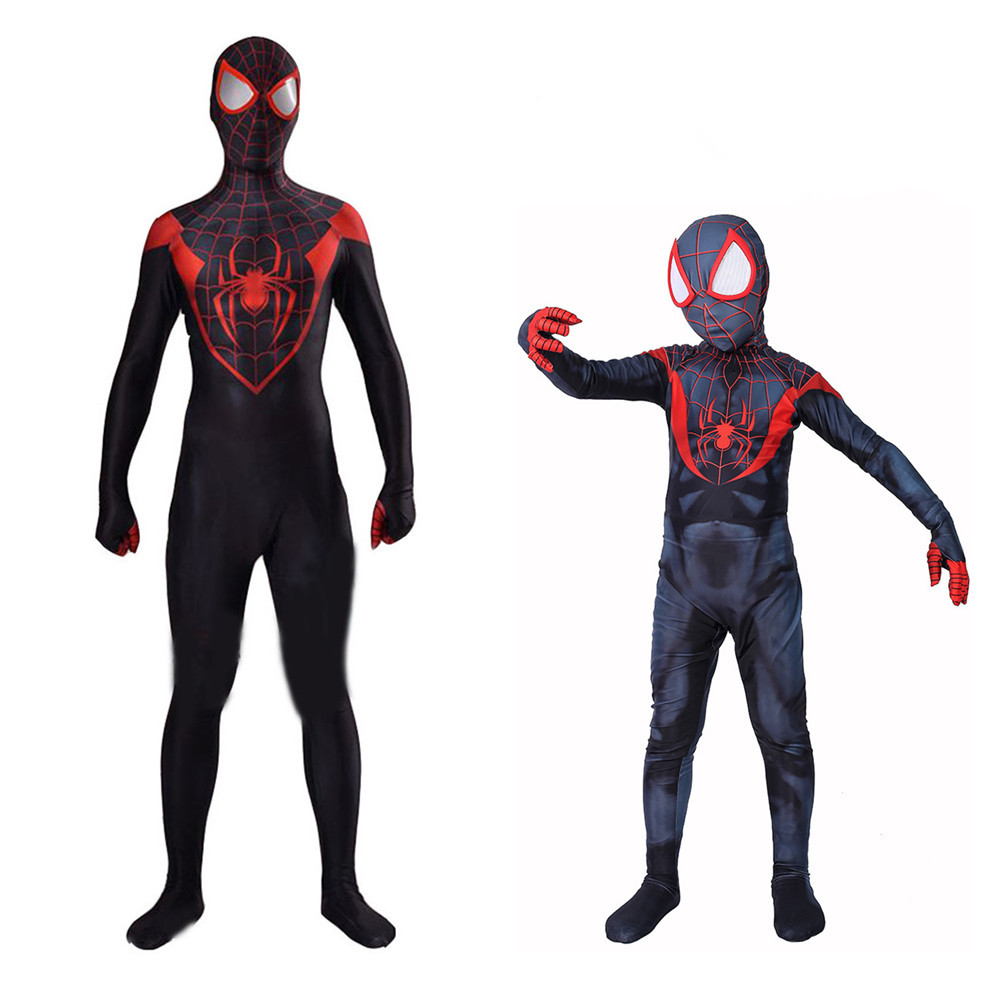 New halloween Black spiderman cosplay costumes parent-child Dark spider-man COS Advengers Close-fitting garment L107