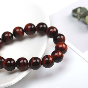 Image 3 - JD Classic 4 18MM Natural Stone Prayer Beads Tiger Eye Bracelet Handmade Red Brown Natural Stone Braclet For Men Yoga Jewelry