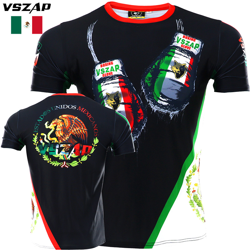 VSZAP Boxing Fighter  Quick Dry Stretch T-shirt Fitness Fighting Muay Thai Sports Broadcast For MMA Martial Arts