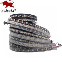 1 м 2 м 3 м 4 м 5 м WS2812B WS2812 светодиодные полосы, индивидуально адресуемых Смарт RGB светодиодные ленты, черный/белый PCB Водонепроницаемый IP30/65/67 DC5V