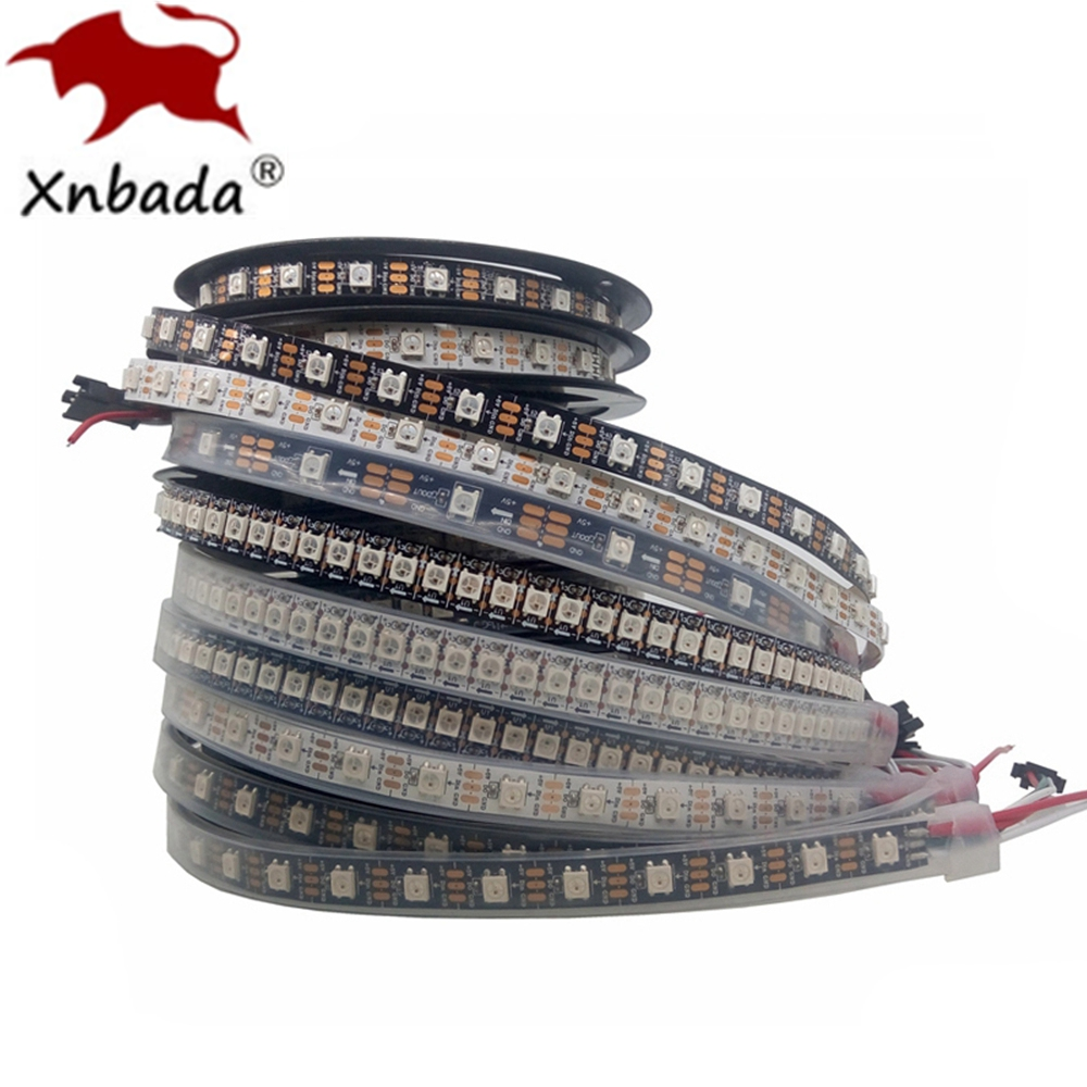 1m 2m 3m 4m 5m WS2812B WS2812 Led StripIndividually Addressable Smart RGB Led StripBlack White PCB Waterproof IP30 65 67 DC5V
