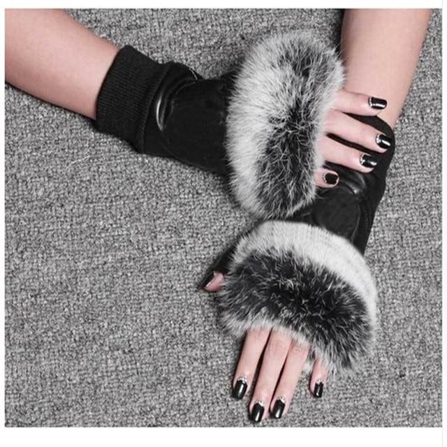Winter Fashion Brand Famous Celebrities Women Genuine Leather Gloves Real sheepskin Rabbit Fur Fingerless Gloves Female 1