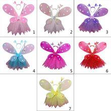 Adults Child Flashing Wings Tutu Skirt Pettiskirt Glow Headband Fairy Stick Set